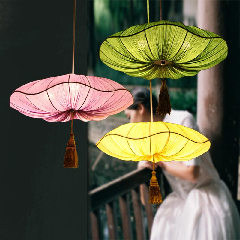 Red / green / yellow decorative Chinese cloth pendant lights lily lantern retro bedroom living room dining room pendant lamp ZA цена