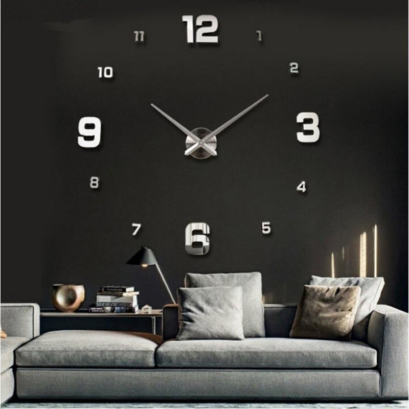 2016 new circular set living room 3d diy acrylic mirror wall clocks mute big clock quartz metal watch Needle real free shipping
