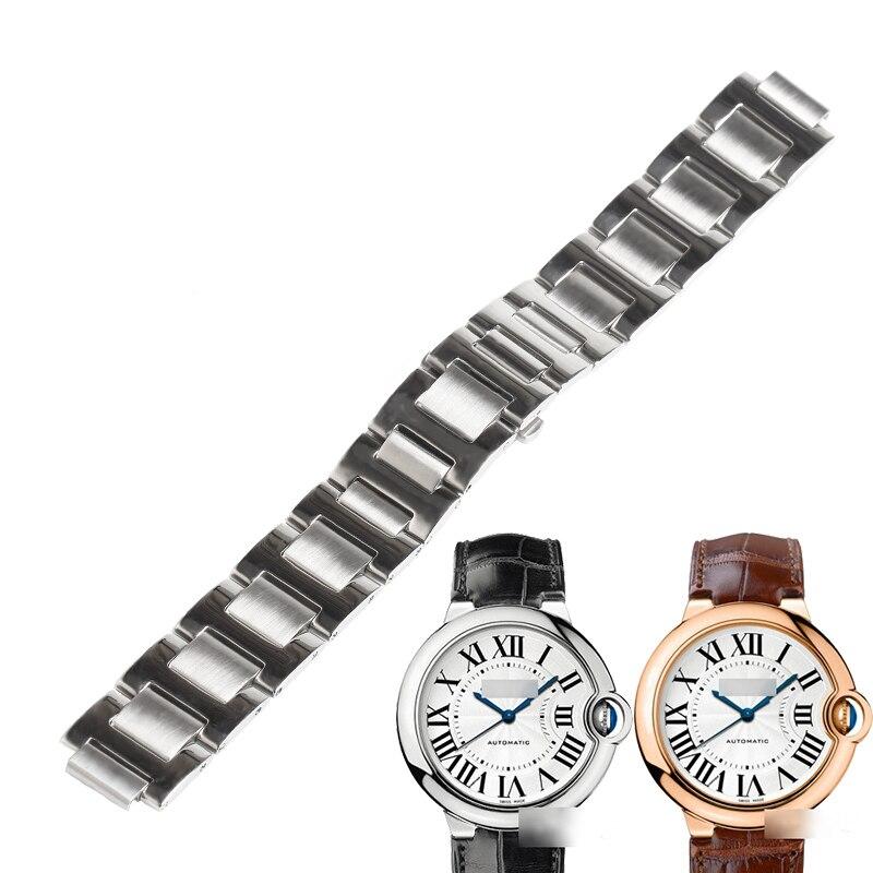 WENTULA watchbands for BALLON BLEU DE CARTIER stainless steel solid band W69016Z4 watch band