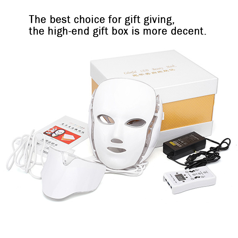Korea 7 Colors Light LED Facial Mask With Neck Skin Rejuvenation Face Care Treatment Beauty Anti Acne Therapy Whitening Massage
