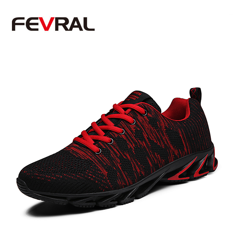 Image 1 - FEVRAL Brand 2020 Summer Flyknit Breathable Men Sneakers Adult Red Blue Green High Quality Comfortable Non slip Soft Men ShoesMens Casual Shoes   -