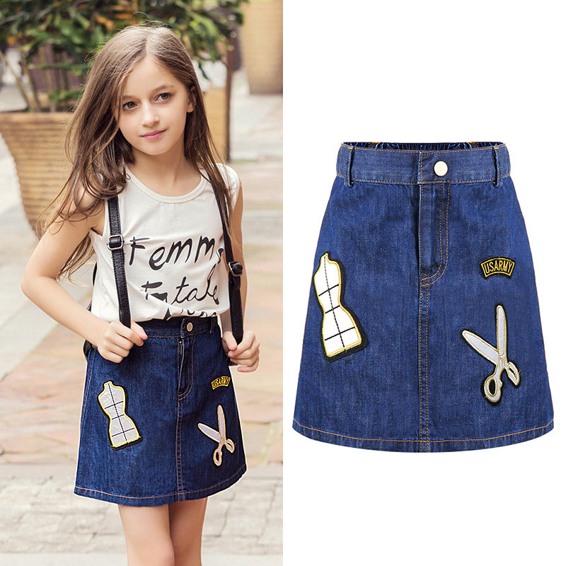 2016 High Quality Fashion Girls Denim Tutu Skirts Ballerina Petti Skirt Kids Casual Candy Color Buttons Skirt Childrens Jeans fashionable high waist solid color zipper fly denim skirt for women