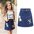 2016 High Quality Fashion Girls Denim Tutu Skirts Ballerina  Petti Skirt Kids Casual Candy Color Buttons Skirt Childrens Jeans