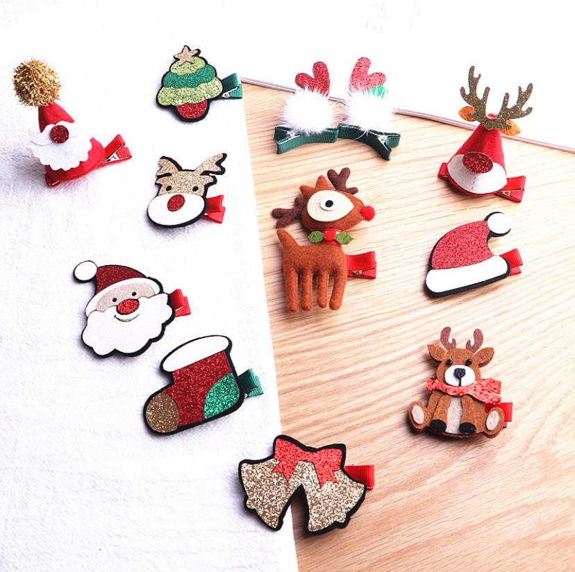 NEW Christmas Gift Hair Clip Flower Santa Claus Barrette Hair Accessories for Girl Bow Star Snowman Elk Hairpin J91 in Hair Accessories from Mother Kids