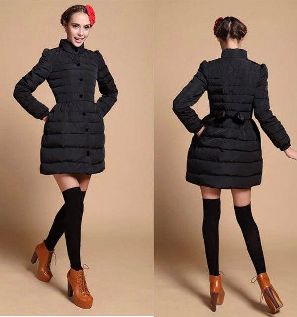 European winter 2014 new fashion long women down parkas puff sleeve stand collar solid coats loose hem bowknot warm down E277 цена и фото