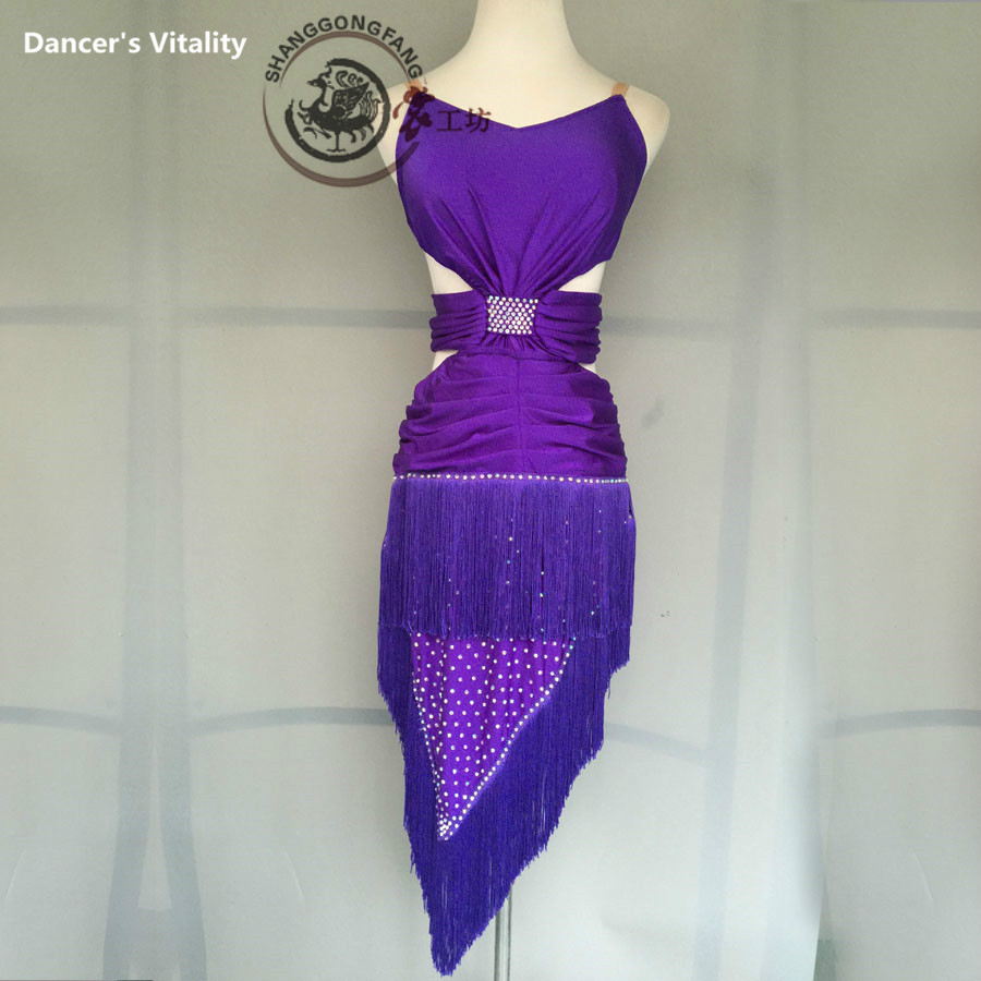Latin Dance Dress Tassel Skirt Lady Diamonds Stage Competition Latin Costume High Quality Women's   Dancing Wear Latin Dress