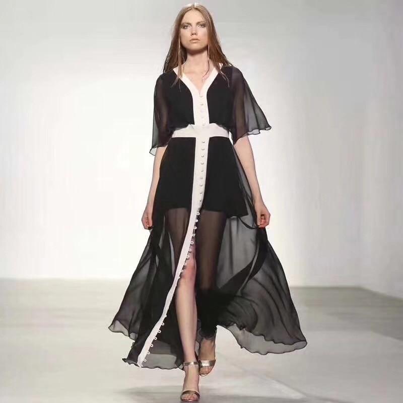 Élégant noir Maxi femmes robe de mode col en V à manches courtes femmes d'été célébrité Cocktail longue robe de soirée Vestidso en gros
