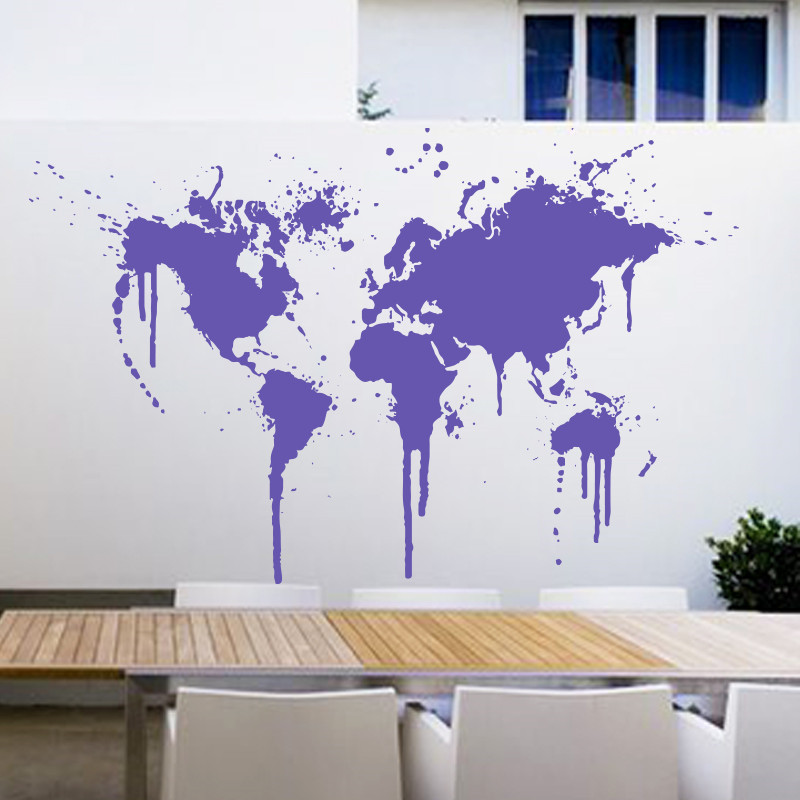 Art decor New Design Spray Paint World Map Wall decal XL Creative Wall sticker Vinyl Cheap removable home decor wall papers in Wall Stickers from Home Garden
