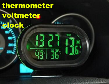 Digital Auto Car Thermometer Car Battery Voltmeter Voltage Meter Tester Monitor 12V / 24V  Noctilucous Clock Freeze Alert 3in1 car auto digital led thermometer usb charger cigarette voltmeter 12v 24v 3color g205m best quality