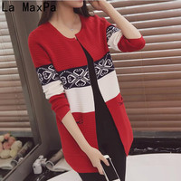 SZMXSS Spring Women S Cardigans Sweater Casual Warm Long Design Female Knitted Sweater Printed Cardigan Coat