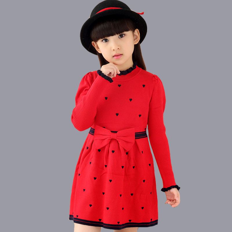 04bd35111 2018 New Autumn Girl Dress Children Clothing Cute Bow Kintted ...