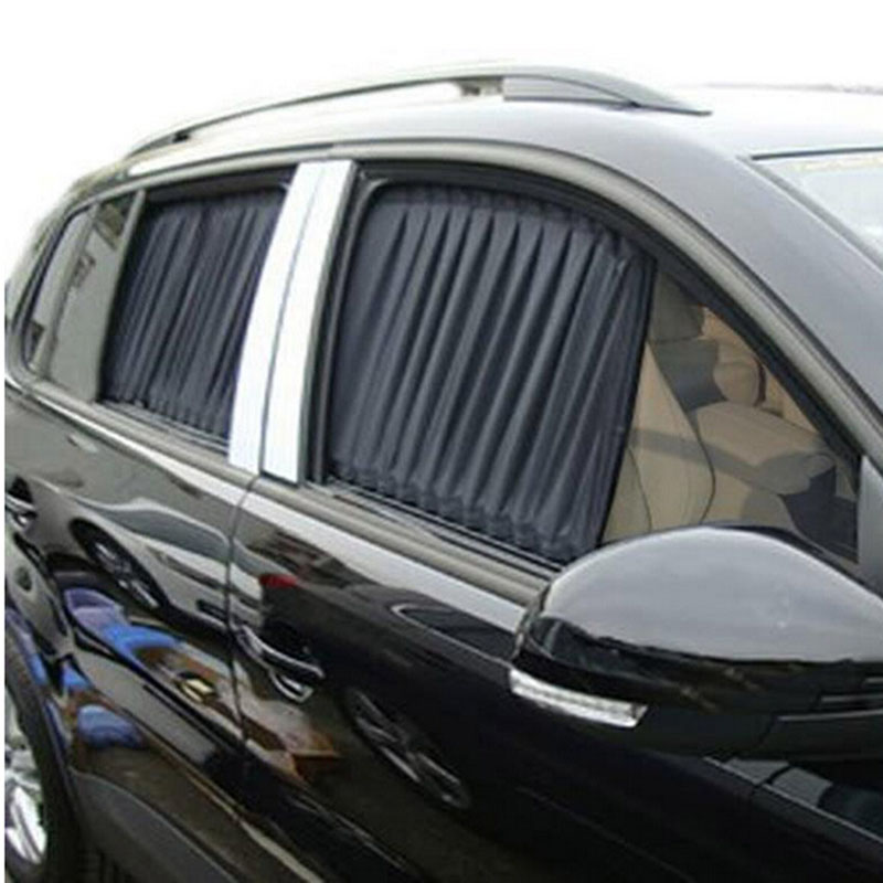 2 x Update 70S Aluminum Alloy Elastic Car Side Window Sunshade Curtains Auto Windows Sun Visor Blinds Cover - Black Beige Grey
