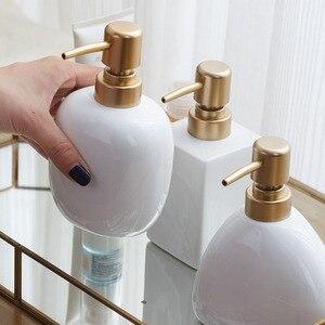 Image 2 - Nordic White Ceramic Dispenser Hand Sanitizer Soup Bottle Home Hotel Press Empty Bottle Gel Shampoo Moisture Gold Press Head