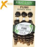 X-TRESS Synthetische Fumi Haar Bundles 18 zoll 3 Teile/paket Extensions Hitzebeständige Mix Farbe # T1B/27 Haar Spinnt
