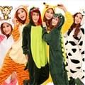 2017 Familia Pijamas Invierno Caliente de la Historieta Animal Ropa de Dormir a Casa Linda Novedad Casa Pijama Traje de Dormir de Las Mujeres Túnica