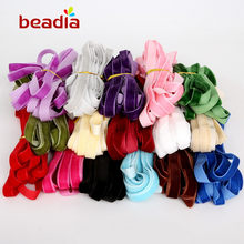 "5 yard/lot 3/8 "" Multi-color single faced velvet ribbon velour webbing headband Hair band accessories white lace fabric 10MM(China)"