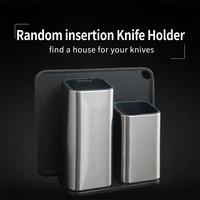 XYj Kitchen Cook Knife Holder Storage Stainless Steel Knife Block Stand for Knives Large Capacity Multifunctional Storage Seat
