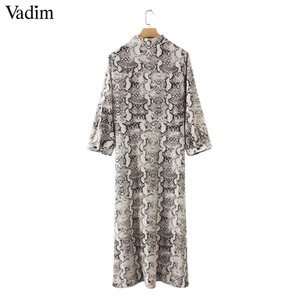 Image 4 - Vadim women snake print ankle length dress pockets long sleeve split pleated female casual chic dresses vestidos QA502