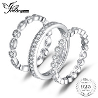 JewelryPalace Fashion 2 15ct Cubic Zirconia 3 Eternity Band Rings For Women Pure 925 Sterling Silver