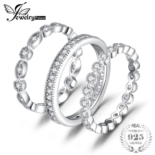 JewelryPalace Fashion 2.15ct Cubic Zirconia 3 Eternity Band Rings For Women Pure