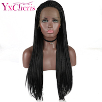 Synthetic Lace Front Braided Wigs for Women Long Natural Black Hair Afro Frontal Lace Wigs Female