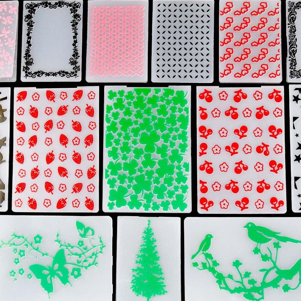 21 Styles Embossing Folders Plastic Scrapbooking For DIY Scrapbook Album Card Decorating Tool Crafts Card Paper Making Decoratio in Embossing Folders from Home Garden
