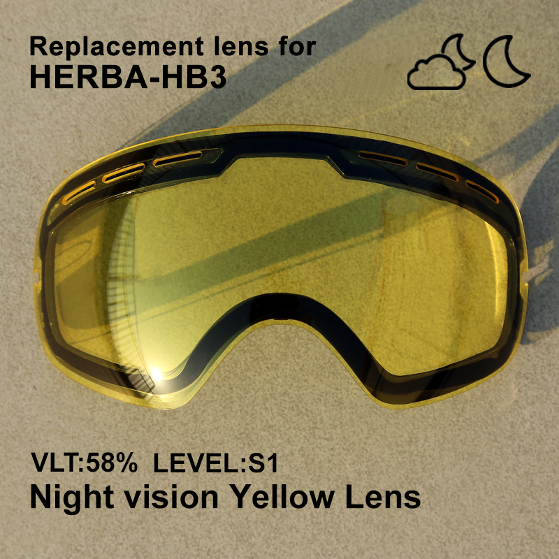 HERBA Ski Lens Double Layer Anti Fog And Anti UV400 Suitable For HB3