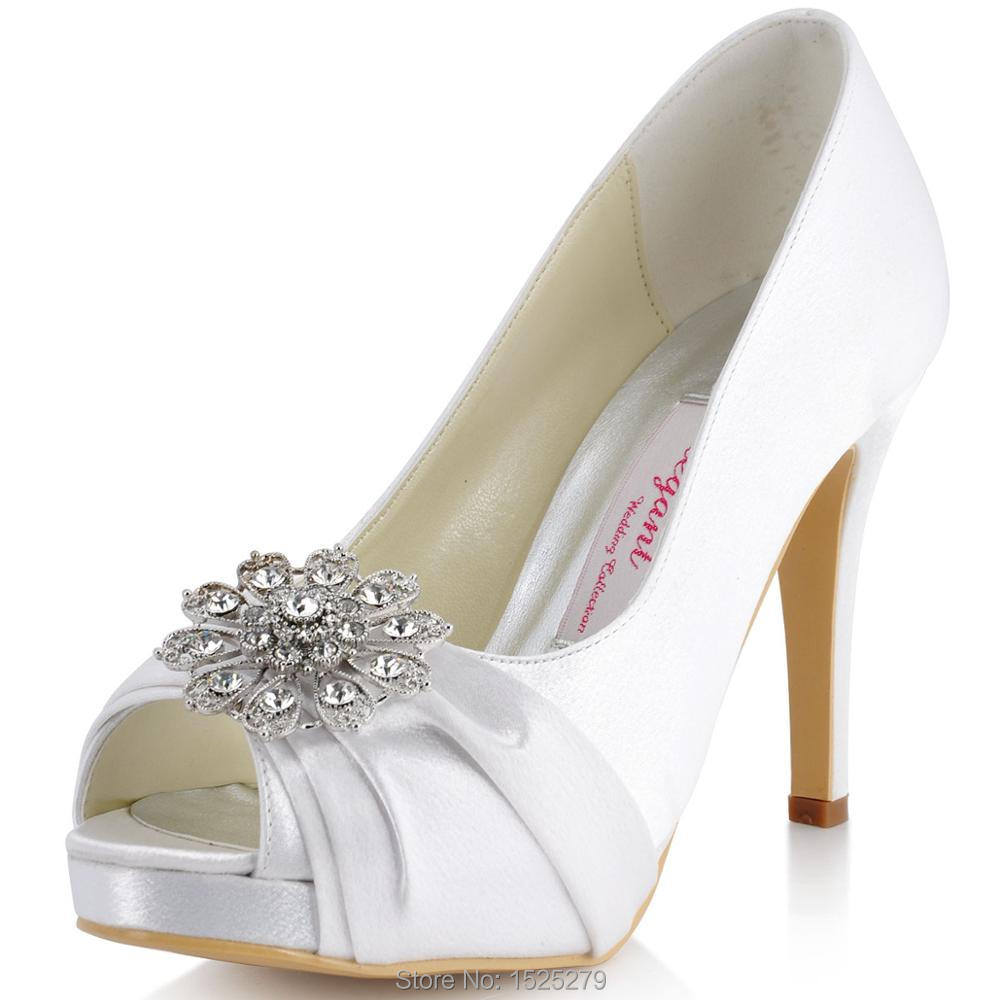 EP41058-PF White Women Bride Wedding Party Pumps Platforms Sandals Peep Toe High Heel Rhinestones Satin Bridal Bridemaids Shoes