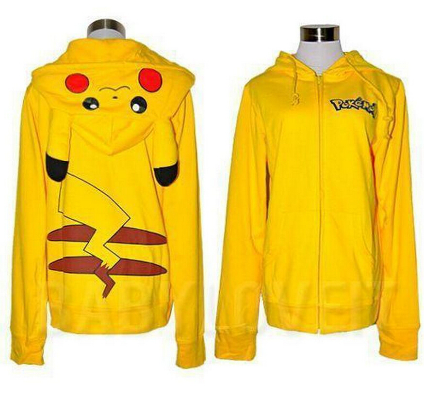 NEW Pokemon GO COSPLAY Costumes Jacket Ears Face Pikachu Anime Cartoon Women Hoodies Coat