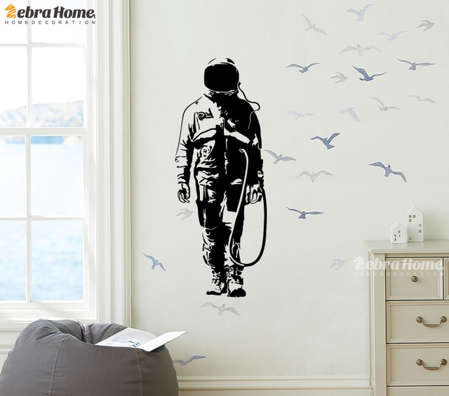 DIY Graffiti Astronauta De Banksy Design Wall Decal Sticker For Living  Rooms Art Vinly Murals Wallpaper Part 90