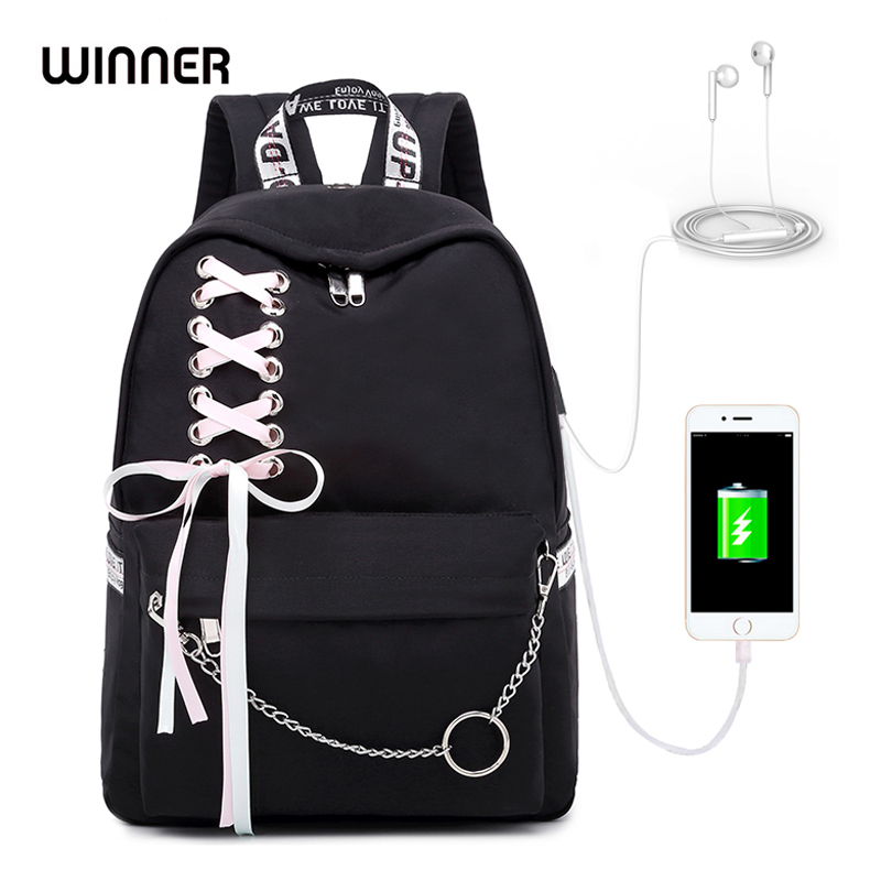 WINNER 2019 New Waterproof Women Backpack USB Charging Printing School Laptop Knapsack Female Travel Daily Mochila Bolsas Kawai