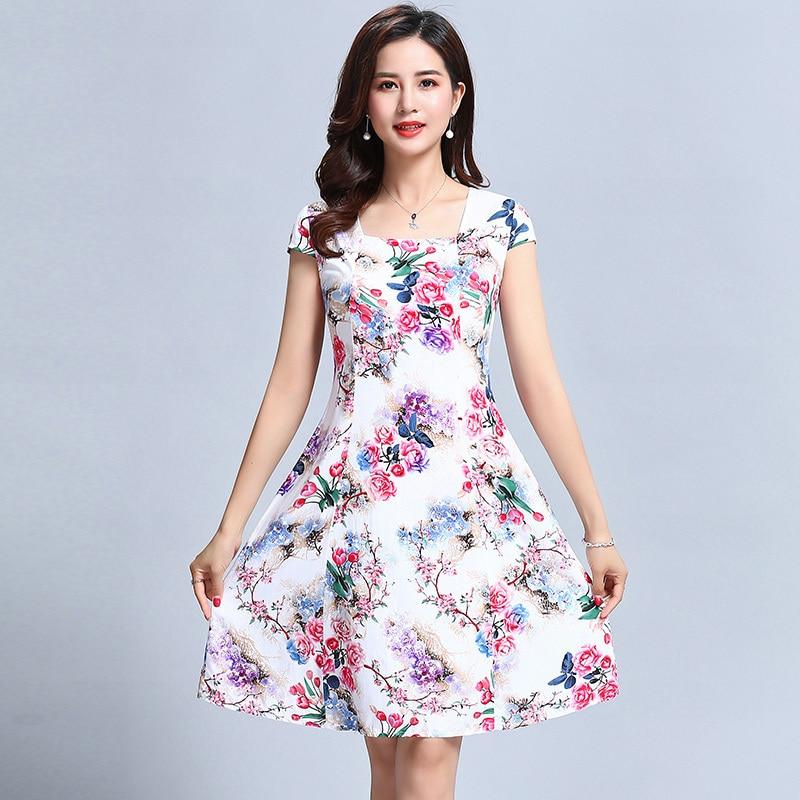 L-5XL 2018 Women's Clothes Floral Print Vintage Dress Plus Size Short Sleeve Square Neck Casual Style Dresses Vestidos De Festa