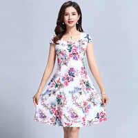 L-5XL 2018 roupas femininas floral impressão vestido vintage plus size manga curta quadrado pescoço vestidos estilo casual de festa