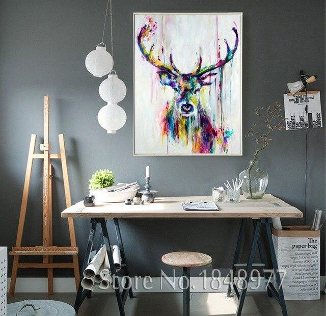 Cuadros Decoracion ölgemälde Auf Leinwand Wandbilder Deer ...