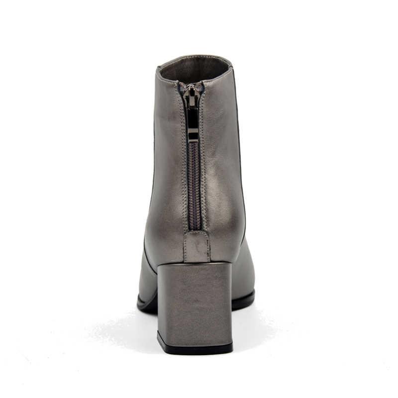 Donna-gümrükleme klasik zarif yarım çizmeler yuvarlak ayak kalın topuklu kadın ayakkabı metalik kalaylı hakiki deri bayan botları
