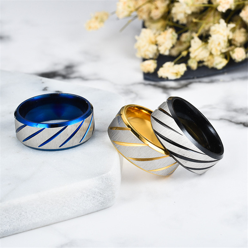 ZORCVENS 8mm Blue Fashion Lover's Wedding Rings 3 Colors Rings Stainless Steel Couple Engagement Rings for Woman 5