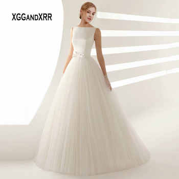 Elegant A Line Tulle Wedding Dress with Bow Sash Romantic V Backless Long Bridal Gown Simple Satin Tulle Wedding Bride Dress - DISCOUNT ITEM  15% OFF All Category