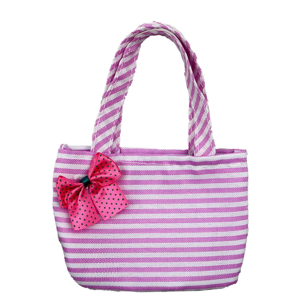 Cute Striped Bowknot Hand Bag for 18 American Girl My Life Generation Dolls Outgoing Backpack Bag 18 inch Doll Accessories