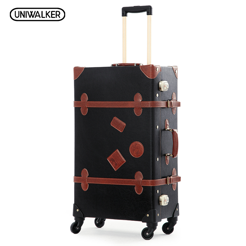 12 20 22 24 26 Black Retro Trolley Suitcase Bags, 2PCS/SET Vintage Travel Trolley Luggage With Spinner Wheels With TSA Lock