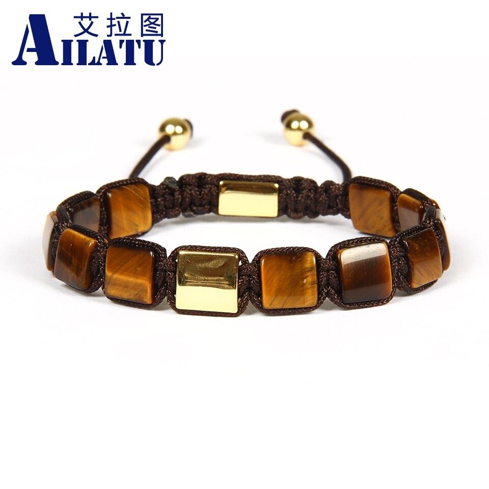 Ailatu Wholesale 10pcs lot 8x8mm Natural Yellow Tiger Eye Stone FlatBead Geometric Braided Square bracelet Nice