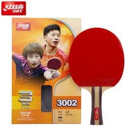 Dhs original raquete de tênis de mesa de 3 estrelas (3002, 3006) com borracha (PF4-1, pips-in) ping pong bat
