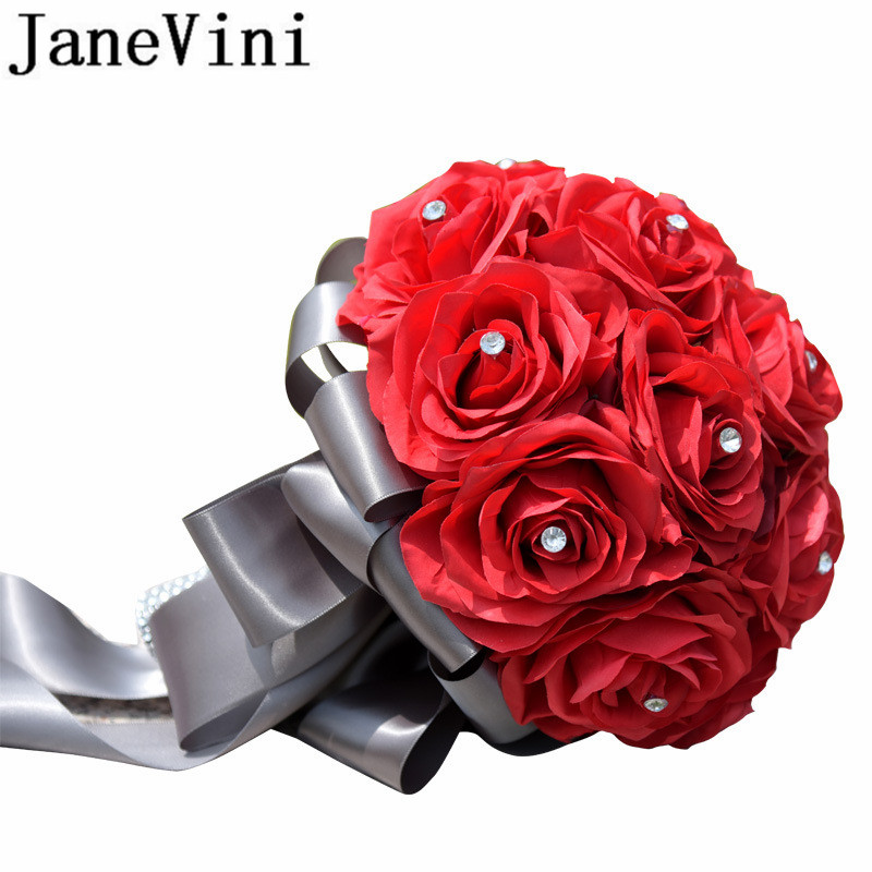 JaneVini Red Artificial Flowers Wedding Bouquets With Crystal Bridal Brooch Bouquets Rose Bride Ribbon Bouquet De Mariage 2018