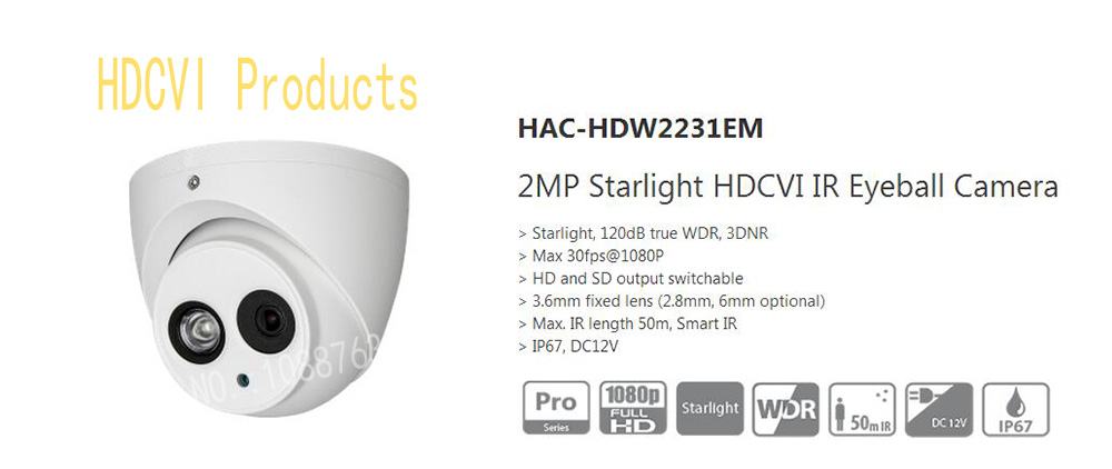 Free Shipping DAHUA CCTV Security Camera 2MP Starlight HDCVI IR Eyeball Camera IP67 Without Logo HAC-HDW2231EM free shipping dahua cctv security camera 2mp hdcvi ir eyeball camera ip67 without logo hac hdw1220r vf
