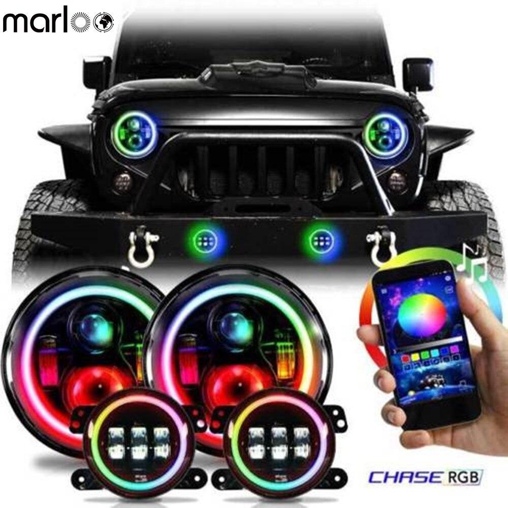 Marloo Set RGB 7 Halo LED Headlights + 4 Inch Front Bumper Fog Lights Lamp For Jeep Wrangler JK 2 Door 4 Door 2007-2017