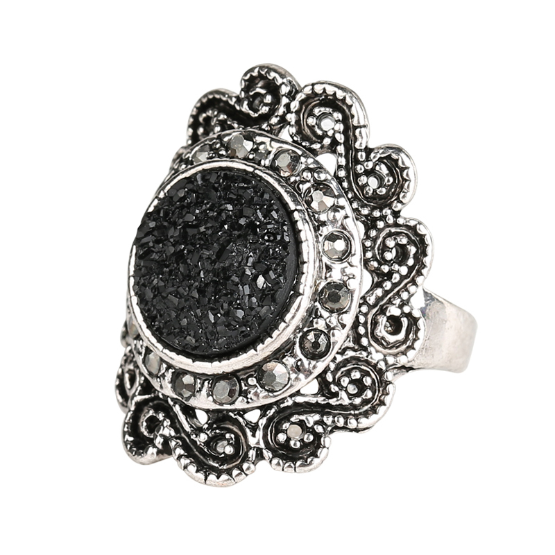 Mote Ringer For Damer 2015 Vintage smykker Black Ore Resin Ring Inlay Crystal Flower Round Punk Rock Gratis frakt