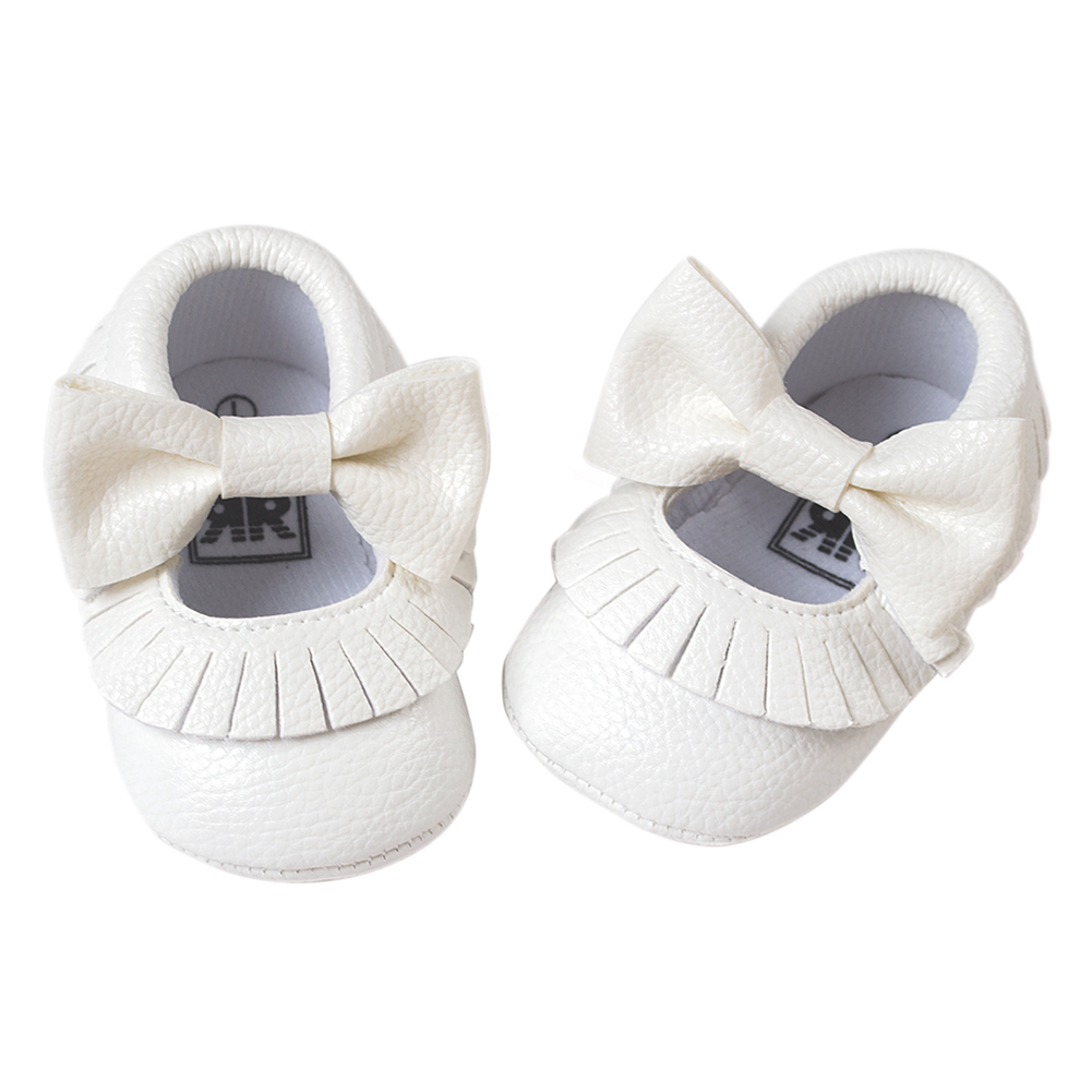 ROMIRUS Baby Moccasins Soft Bottom Butterfly-knot Baby Shoes Tassels Baby Prewalkers Shoes White 11cm
