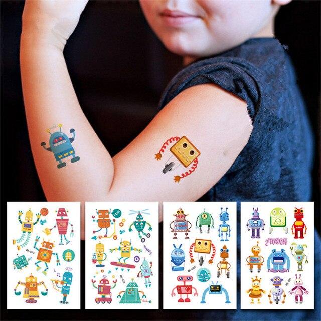 Autocollants de tatouage Robot/cirque/licorne | 10 pièces, bricolage, dessin animé, tatouage danimaux, décoration de fête danniversaire, réception-cadeau pour bébé enfant