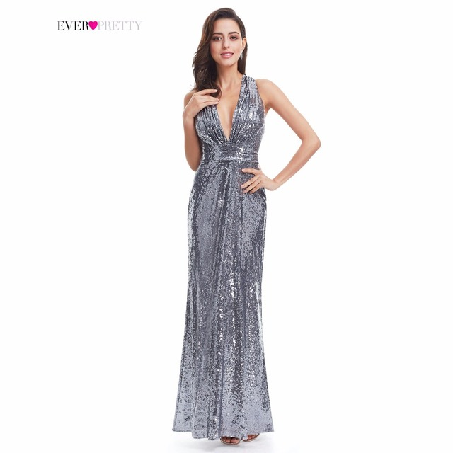 Evening Dress Sparkle Ever Pretty Long Deep V-Neck Natural Waist EP07109GY Mesh Cross Back Shiny Sequin Evening Dress Gowns