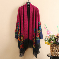 Autumn New Knit Sweater Long Sleeves Cardigan Open Stitch Capes & Ponchos Tassel long Floral Print Outside Shawl Middle Aged