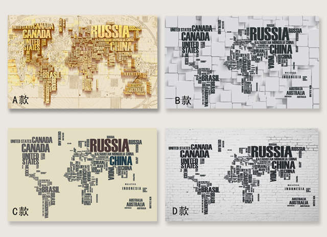Online Shop ShineHome-4 Style 3D Custom Russia Canada World Map ...